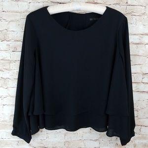 Zara basic XL  crop top layered chiffon black